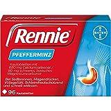 Rennie Bayer Vital Pfefferminz lindern Sodbrennen und säurebedingte Magenbeschwerden, 96 Kautabletten