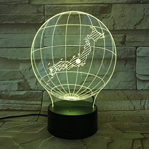 DGTJSISHIJIU Mapa Nacional Japón Luz Nocturna Led Ilusión 3D Sensor Táctil 7 Cambio De Color Niños Niños Regalos para Bebés Globo Lámpara De Mesa Escritorio
