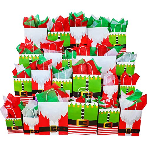 Aneco 24 Pieces Santa Elves Claus Suit Kraft Paper Bags 3 Sizes Holiday Party Bag with 30 Sheets Christmas Tissue Paper Shopping Paper Bagsfor Xmas Gift Bags Party Favors