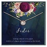 Collar de perlas para hermana, regalo de cumpleaños para hermana, regalo de hermana, regalo de hermana, regalo de hermana, regalo de hermana mayor, joyería para hermana, cita de sororía.