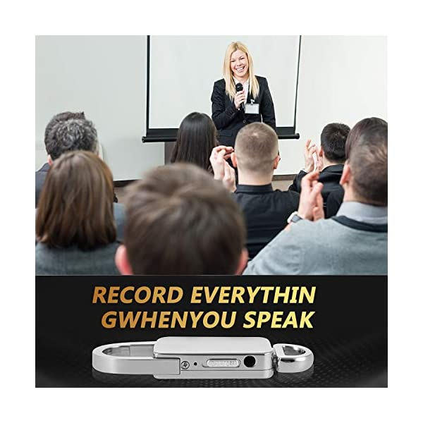 16GB USB Mini Voice Recorder Keychain,Arssilee Voice Activated Noise Cancellation Digital Voice Recorder with 180 Hrs Capacity for Lectures Speeches Meetings - MP3 Player Metal Casing USB Charge