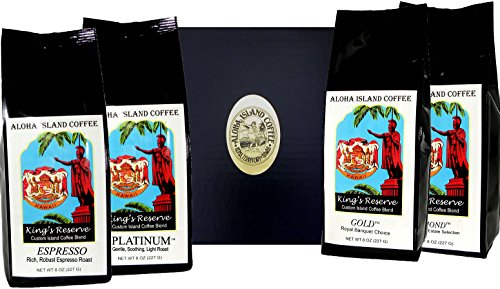 Best Coffee of the Month Club Gift, Six Months Variety of Kings Reserve Custom Kona Coffee Blend, Whole Bean, First Shipment Is Gift Boxed, for Christmas, Mother's Day, Father's Day, All Occasions