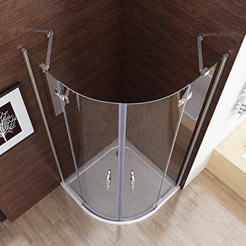 MIQU 90x90x 185 cm Duschkabine Runddusche Duschabtrennung Falttür Echtglas Viertelkreis 6mm NANO Glas