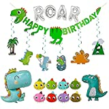 SHERONV Dinosaur Birthday Party Decorations for Kids, Dinosaur Party Supplies with Birthday Banner, Hanging Swirls, Dino Balloons, ROAR Foil Balloon, Bday Hats for Boys Girls, Baby Shower Decors