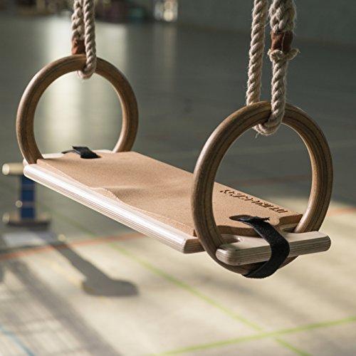 Sport-Thieme Kork Schaukelbrett für Turnringe aus Holz | Schaukelsitz mit Kork Sitztfläche für Ringeanlage | Eigene Fertigung | Maße: 60x20x2,1 cm | Bis 120 kg belastbar