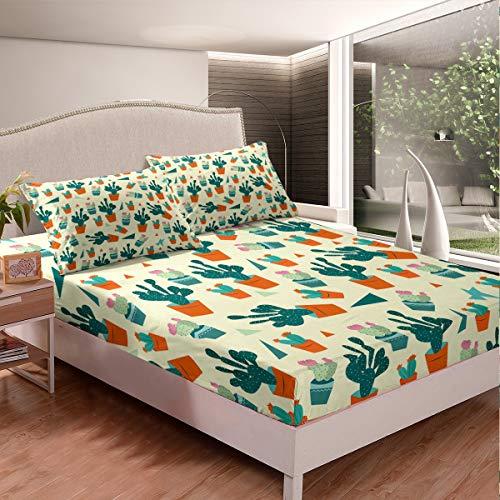 Loussiesd 200x200cm Kinder Spannbettlaken Cartoon Kaktus Drucken Bettlaken Set Topfpflanzen Tropische Sukkulenten Spannbetttuch Ultraweiche Bequeme Mikrofaser für Kinder Frauen
