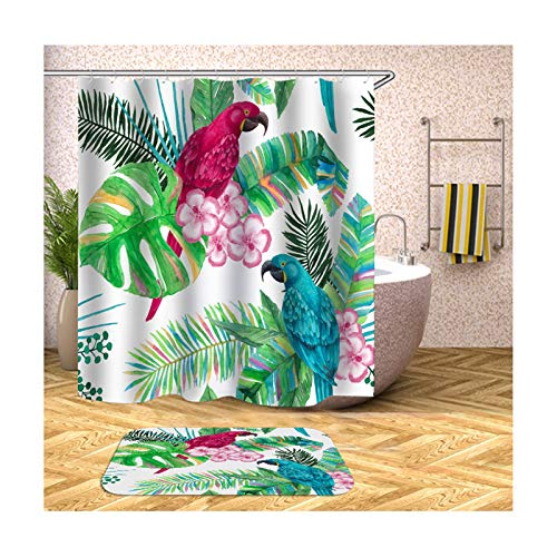 Aeici Badematte Klein 40X60 Papagei und Blume Badematte 2 Teilig Set Polyester Badvorhang Fenster Rot und Blau Duschvorhang 165X200 cm