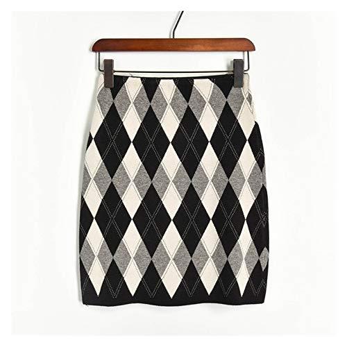 Vintage Rhombus Plaid Punto de Punto Mini Vestido de Moda Mujeres Alta Cintura de Cintura Hip Paquete de un Paso Corta suéter Falda (Color : Negro, Talla : One Size)