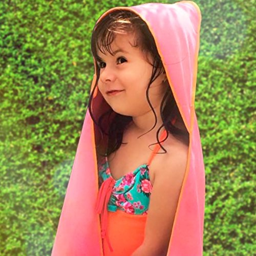 Microfiber Kids Towels with Pouch. Perfect for Bath, Beach, Pool. Protect Your Children with a Beautiful Designed Towel (Pink-Orange)