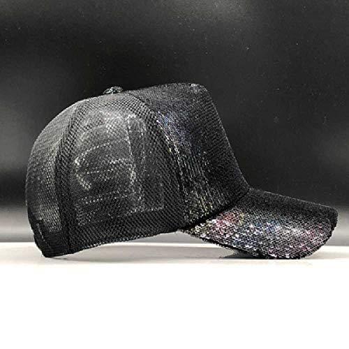 TUOLUO Gorra De Béisbol De Malla Brillante con Lentejuelas Arcoíris Sombrero De Fiesta para Damas Bellamente Ajustable Mediano/Negro