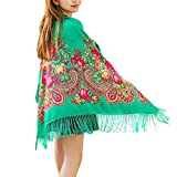 Shawl Shawls for Women,Womens Scarves,Pashmina blanket Shawls and Wraps, Ukrainian Mexican Russian Green Printed Scarf for Women with Tassel, Large Head Scarf Wrap