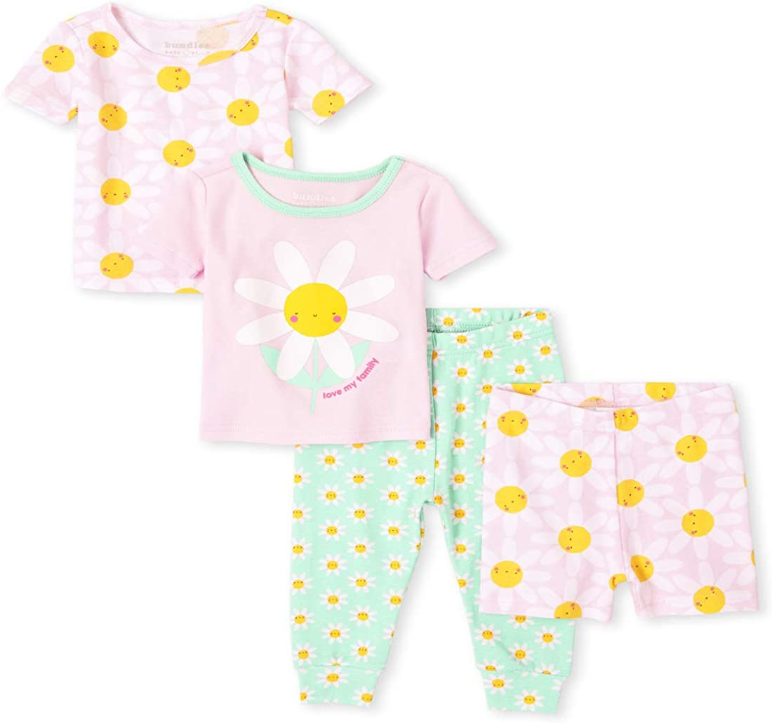 The Children's Place Baby and Toddler Girls Daisy Snug Fit Cotton 4-Piece Pajamas