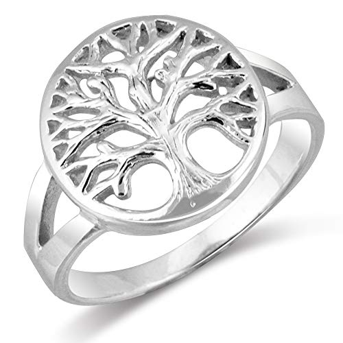 Mimi 925 Sterling Silver Open Tree of Life Ring - Size 9