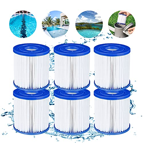 Pool Filters Replacement Type H Pool Filter Cartridge for intex pool filter pool with filter pump Filter Cartridge 29007 Compatible Easy Set Pool Filters for Clear Model 601 Filter Pump, 6 pack
