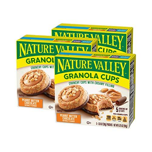 Nature Valley Peak Edition Granola Cups, Peanut Butter, 5 Pouches - 6.75 Ounce (Pack of 3)