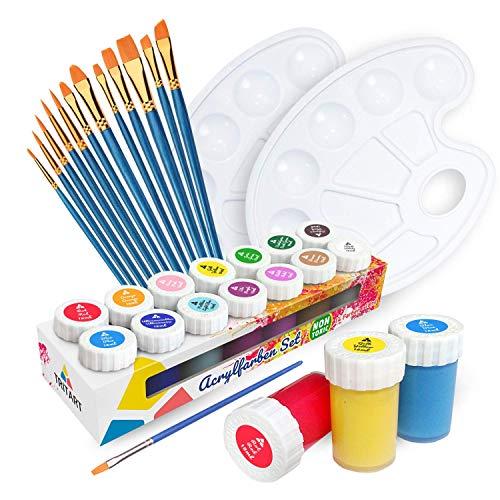 Set de pinturas acrílicas Tritart para niños y adultos con 12 pinceles y 2 paletas de mezcla I 14 colores acrílicos