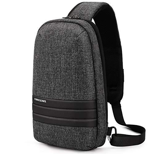 Riley Joy Crossbody Sling Bag Herren klein Brusttasche mit Laptopfach Sling Rucksack für Outdoor Sport Wandern Radfahren (Dunkelgrau)
