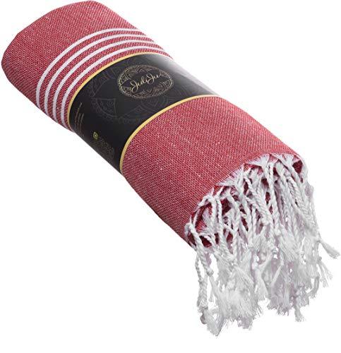 JuliJu XXL Hamamtuch Rot - 95 x 180 cm - 100% Baumwolle, dadurch hautverträglich und antiallergen - EIN nachhaltig produziertes Badelaken für die ganze Familie