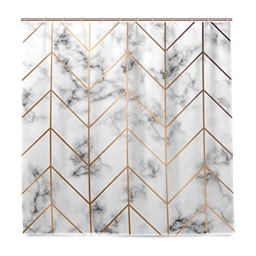 BALII Goldene geometrische Linie Marmor Duschvorhang 183 x 183 cm Polyester wasserdicht mit 12 Haken für Badezimmer