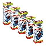 tesa Roller ecoLogo - Pegamento en cinta permanente ambidiestro en paquete de 5, rodillo adhesivo ecológico con cinta PET resistente al rompimiento, 8.5 m x 8.4 mm