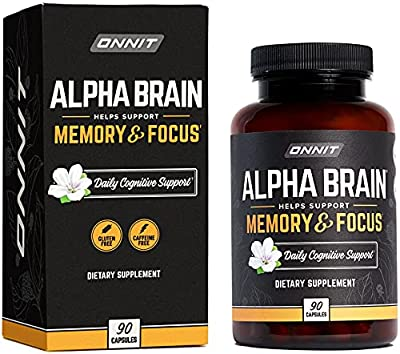 ONNIT Alpha Brain (90ct) - Premium Nootropic Brain Supplement - Focus, Concentration & Memory - Alpha GPC, L Theanine & Bacopa Monnieri