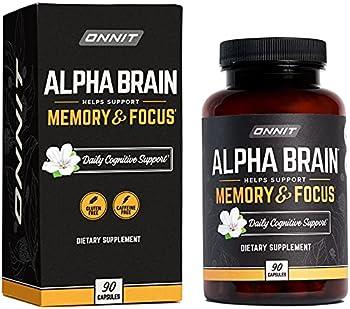 ONNIT Alpha Brain  90ct  - Premium Nootropic Brain Supplement - Focus Concentration & Memory - Alpha GPC L Theanine & Bacopa Monnieri