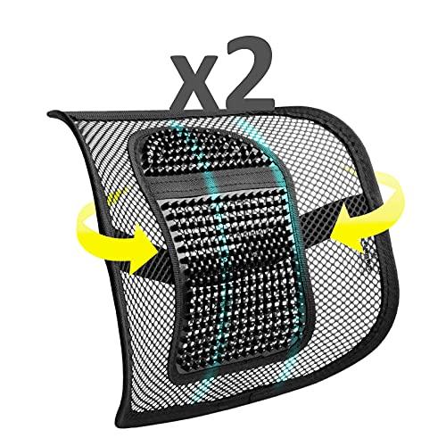 SMAMS Respaldo Lumbar para Silla de Oficina o Coche con Malla Super Tensa y Perlas de Masaje, Corrige la Postura y Alivia el Dolor Lumbar x2