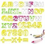 JOJOR Ausstecher Buchstaben Groß, 41 Stück Ausstechformen Buchstaben und Zahlen, ABC Keksausstecher Set, Alphabet Ausstecher für Plätzchen Keks Fondant, Komm mit Dekorationsstift
