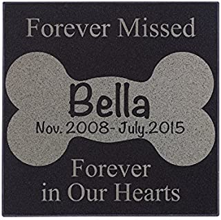 Lara Laser Works Personalized Dog Memorial Customized Dog Grave Marker Custom Headstone - DSG#7 - Aged Granite