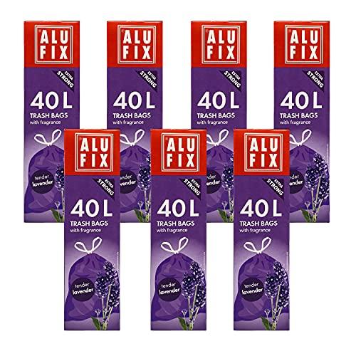 ALUFIX Duft Müllsäcke Müllbeutel mit Zugband 40 L, 53x60cm, zarter Lavendel, Abfallbeutel 84 Stück