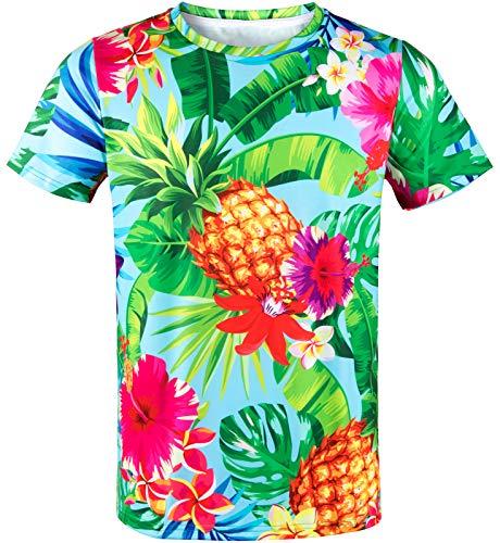 COSAVOROCK Camiseta Hawaiana con Estampado de Piña y Flores para Hombre Turquesa XL