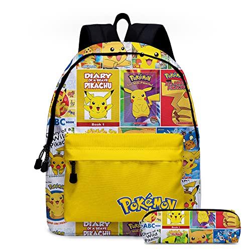 Rpporm Bolsas de escuela de Pokemon amarillas mochilas de dibujos animados lindas figuras de anime Pikachu bolsas de gran capacidad bolsa de viaje para niñas niños incluyendo estuche
