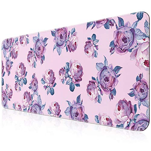 YOOMAS Extra Large Gaming Mouse Pad, Extended Protective Desk Mat Keyboard Pad Non-Slip Rubber Base with Stitched Edges & Floral Print for Game, Work, 11.81 x 31.5 inch, Peony/Purple