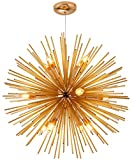 ZSML 12 Luces araña Medieval Sputnik lámparas de Techo contemporáneas Antiguas para vestíbulo, Comedor, Sala de Estar, Dormitorio, Dorado