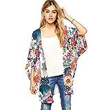 DEELIN Blusa Suelta De Gasa con Estampado De Flores Casual para Mujer De Kimono (M, Multicolor)
