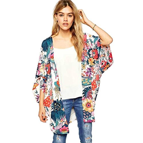 DEELIN Blusa Suelta De Gasa con Estampado De Flores Casual para Mujer De Kimono (M