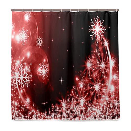 Wamika Weihnachts-Duschvorhang mit rotem Baum für Das Badezimmer, Heimdeko, Schneeflocken, glänzende Sterne, langlebiger Stoff, schimmelresistent, wasserfest, mit 12 Haken, 183,0 cm x 183,0 cm