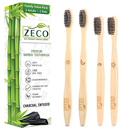 Bamboo Toothbrush for Kids & Adults 4 Pcs Family Sustainable Brush, BpA Free Organic Charcoal Activated Soft Bristle with Eco Friendly Wooden Handle, Natural, and Compostable Indian Origin