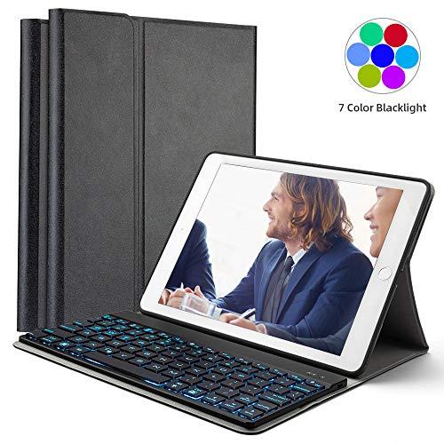 iPad Keyboard Case for iPad Pro 9.7 inch, 2018 iPad 6th Gen, 2017 iPad 5 Generation, iPad Air 1 & Air 2, Detachable iPad Wireless BT Keyboard Cases with 7 Colors Backlit, Auto Sleep/Wake, Black