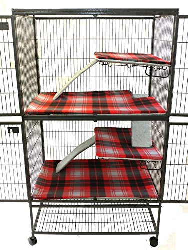 Piggy BedSpreads Fleece Liners for Ferret Nation Critter Nation Cage (Double, Nerdy Forest Friends) Cage Not Included