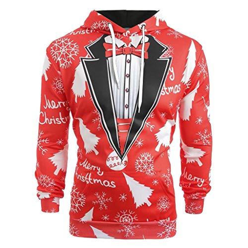 Lloopyting Unisex Damen Herren Weihnachtspullover mit Kapuze und großen Taschen - mehrfarbig - X-Groß