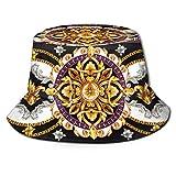 Sombrero de Pesca,Frontera Elementos barrocos Dorados en Vivo,Senderismo para Hombres y Mujeres al Aire Libre Sombrero de Cubo Sombrero para el Sol