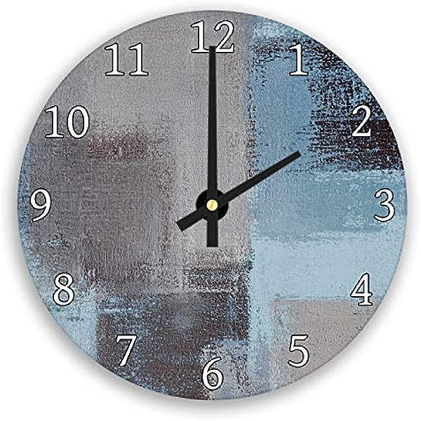 Hiusan 灰蓝海军蓝黑色 Grunge 现代木质挂钟装饰静音 12 In 客厅家居装饰墙面艺术
