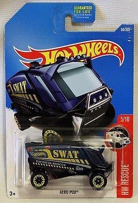 Hot Wheels Blue Aero Pod Swat HW Rescue Set 5/10 64/365