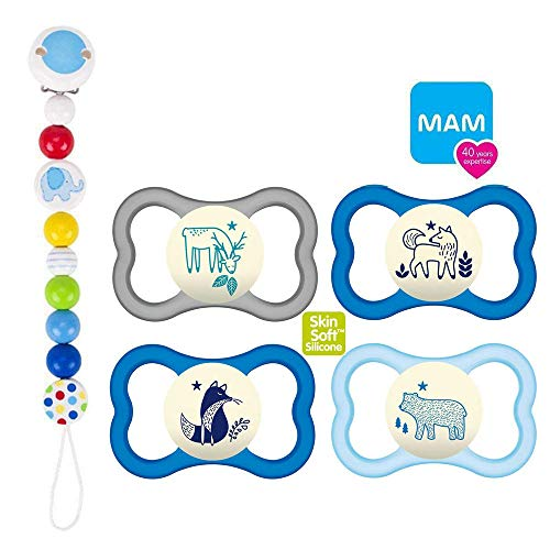 MAM Air NIGHT Silikon Schnuller 16+ MAM Air Night Boy Mix // 4er Set // inkl. 2 Sterilisiertrasportboxen Holzkette Elefant