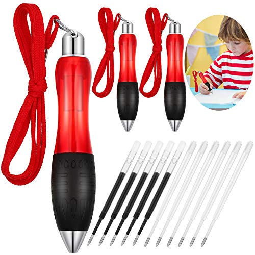 3 Pieces Big Fat Ballpoint Pens Retractable Fat Heavy Weighted Pens with Hanging Rope, and 5 Pieces Blue Refills 5 Pieces Black Refills for Tremor, Arthritis, Parkinson (Red)