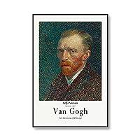 世界的に有名なゴッホ自画像ひまわりキャンバス絵画アートプリント、ポスター印刷、ピクチャフレームレスのキャンバス絵 2号 60x90cm