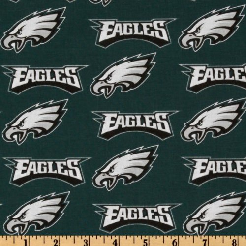 Quilt Fabric Traditions NFL Cotton Broadcloth Philadelphia Eagles Green/Silver/White Quilt Fabric By The Yard, Green/Silver
