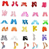 Jashem 50 Pairs Barbie Shoes 11.8' Fashion Doll Shoes Replacement Different Assorted Colors 25 Styles High Heel Shoes, Boots, Flat Shoes Set Replacement for Barbie Doll