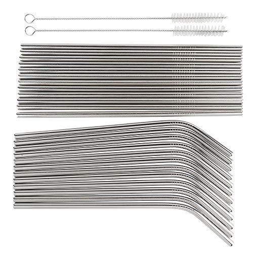 Idee con cuore cannucce in acciaio inox | 24 cannucce + 2 spazzole per la pulizia | Tubi Ø 0,6 cm | 20,5 cm di lunghezza | 12 x dritte e 12 x curve | riutilizzabili | Set di cannucce in metallo